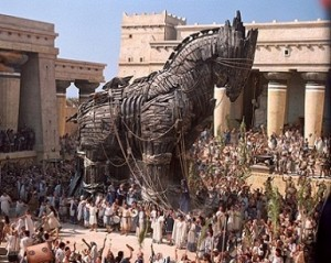 """The Trojan Horse stands inside the city of Troy in Warner Bros. Pictures' epic action adventure """"Troy,"""" starring Brad Pitt, Eric Bana and Orlando Bloom.  PHOTOGRAPHS TO BE USED SOLELY FOR ADVERTISING, PROMOTION, PUBLICITY OR REVIEWS OF THIS SPECIFIC MOTION PICTURE AND TO REMAIN THE PROPERTY OF THE STUDIO. NOT FOR SALE OR REDISTRIBUTION."""