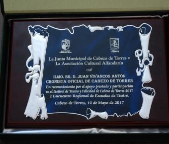 JUAN VIVANCOS ANTÓN HOMENAJEADO POR LA JUNTA MUNICIPAL DE CABEZO DE TORRES Y LA ASOCIACIÓN CULTURAL ALFANDARÍN