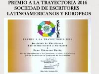 JUAN VIVANCOS ANTÓN RECIBE LA MEDALLA Y EL DIPLOMA DEL PREMIO A LA TRAYECTORIA 2016 DE LA SOCIEDAD DE ESCRITORES LATINOAMERICANOS Y EUROPEOS